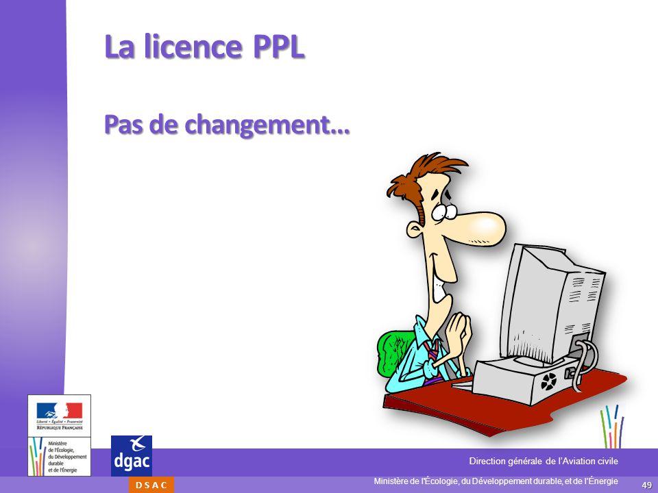La licence PPL Pas de changement…