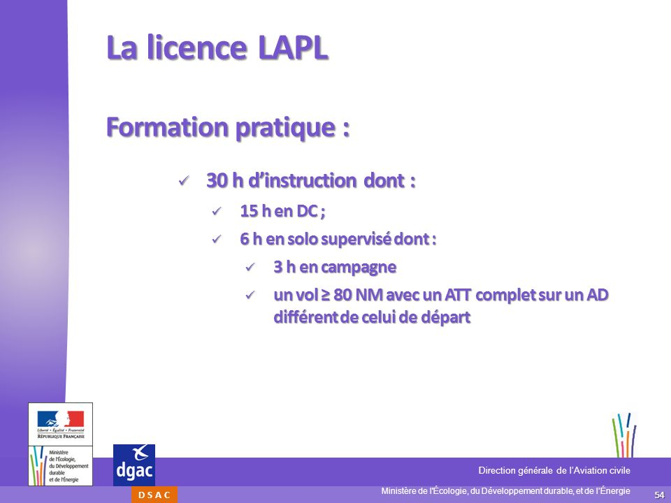 La licence LAPL Formation pratique : 30 h d'instruction dont :