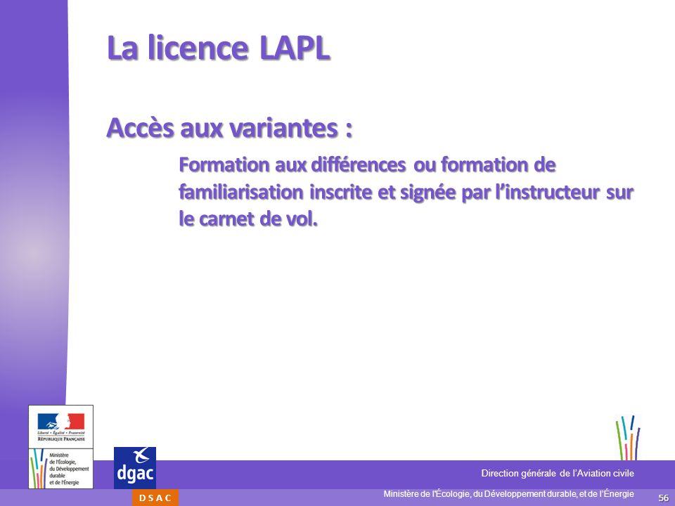 La licence LAPL Accès aux variantes :