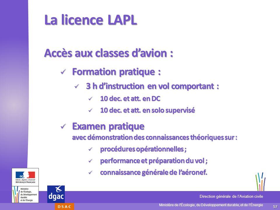 La licence LAPL Accès aux classes d'avion : Formation pratique :