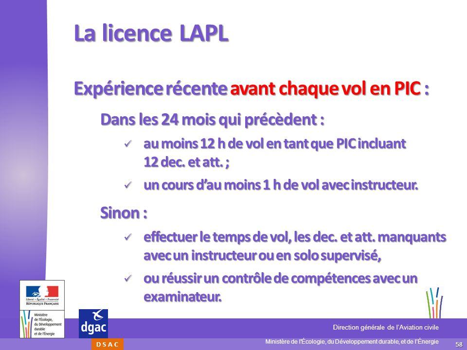 La licence LAPL Expérience récente avant chaque vol en PIC :