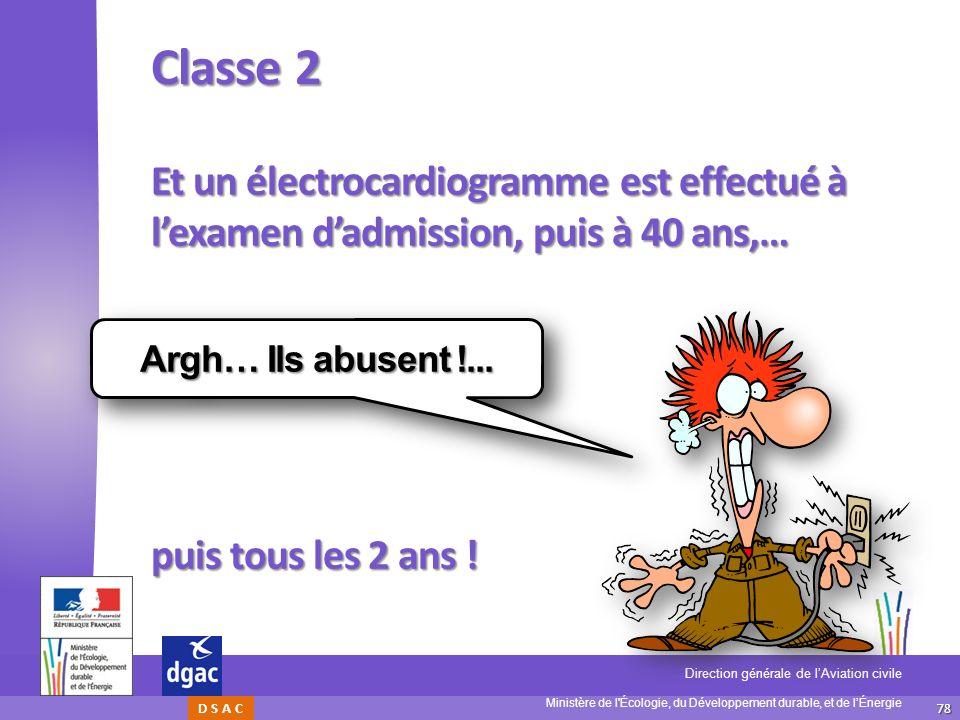 Classe 2 Et un électrocardiogramme est effectué à l'examen d'admission, puis à 40 ans,… puis tous les 2 ans !