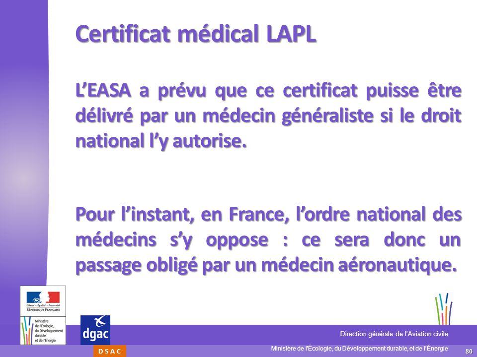 Certificat médical LAPL