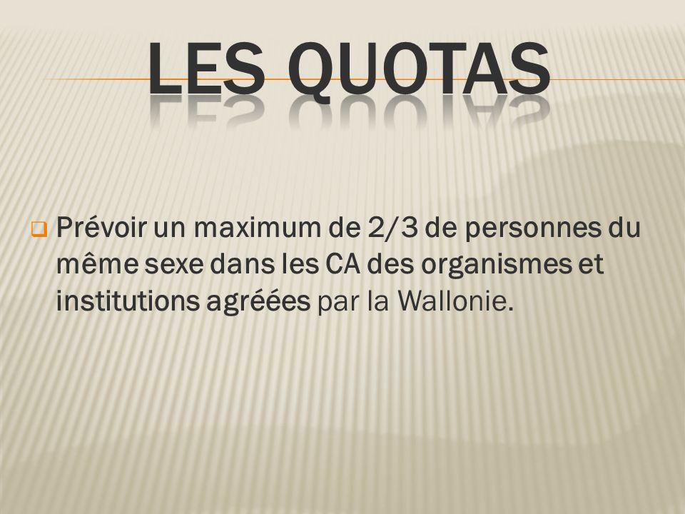 Les quotasPrévoir un maximum de 2/3 de personnes du même sexe dans les CA des organismes et institutions agréées par la Wallonie.