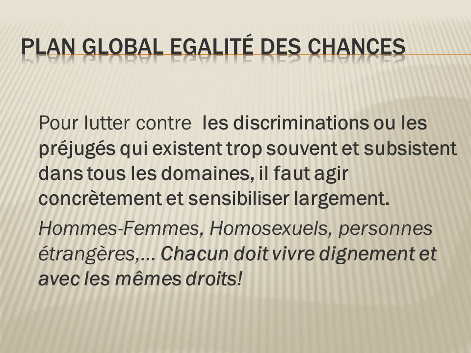 Plan Global Egalité des chances