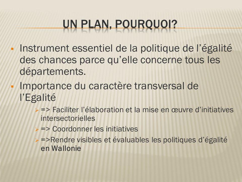 UN PLAN, pourquoi Instrument essentiel de la politique de l'égalité des chances parce qu'elle concerne tous les départements.
