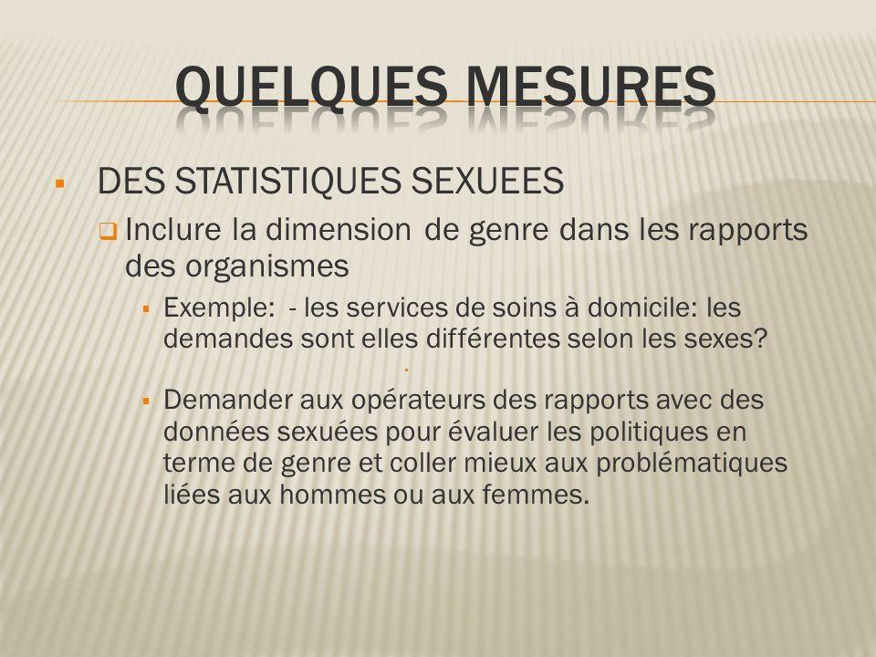 QUELQUES MESURES DES STATISTIQUES SEXUEES