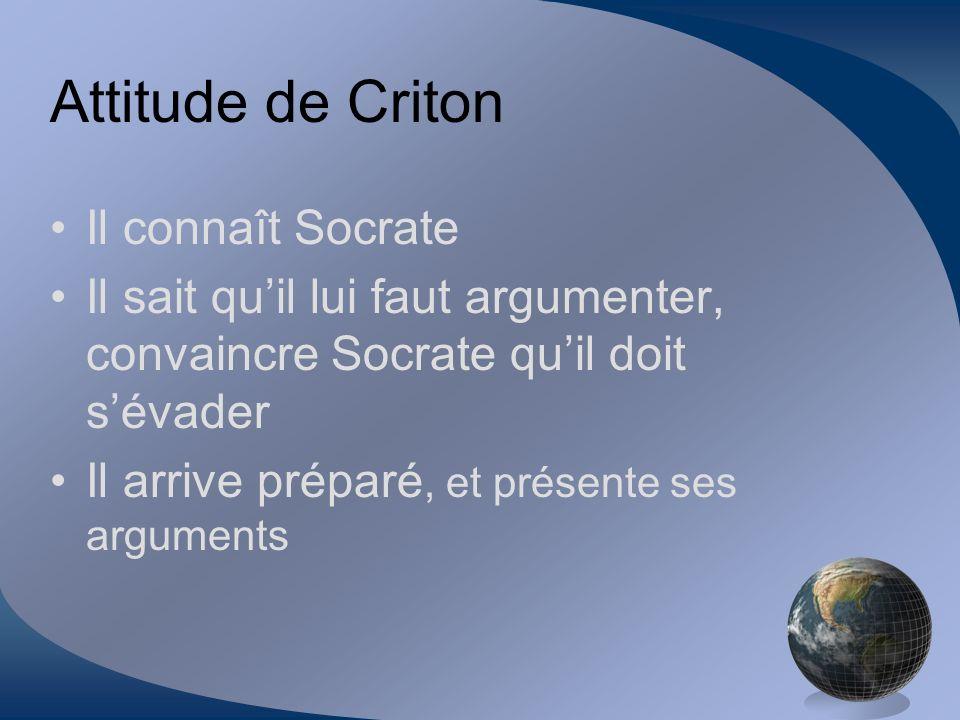 Attitude de Criton Il connaît Socrate