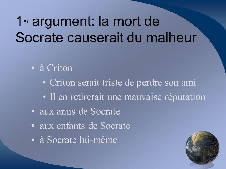 1er argument: la mort de Socrate causerait du malheur
