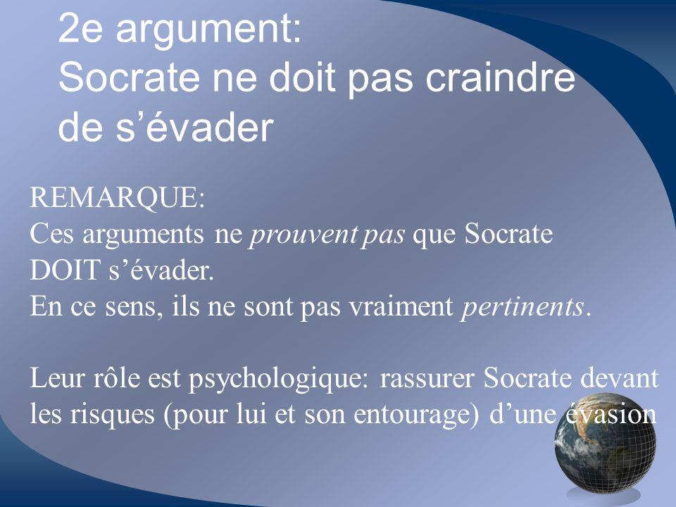 2e argument: Socrate ne doit pas craindre de s'évader