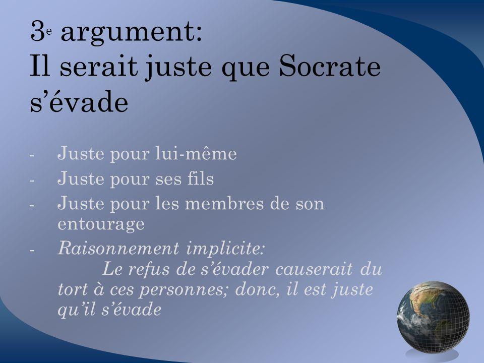 3e argument: Il serait juste que Socrate s'évade