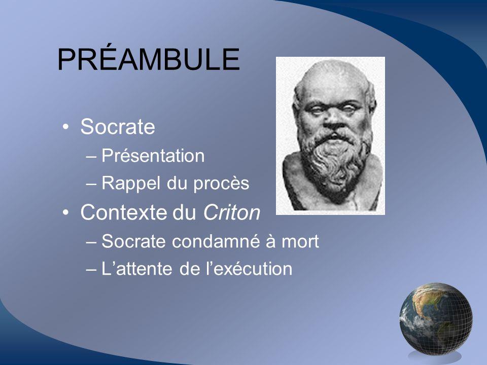 PRÉAMBULE Socrate Contexte du Criton Présentation Rappel du procès