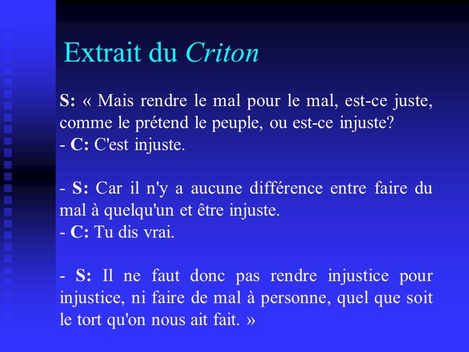 Extrait du Criton S: « Mais rendre le mal pour le mal, est-ce juste, comme le prétend le peuple, ou est-ce injuste