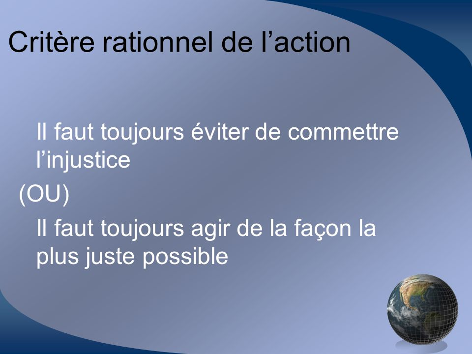 Critère rationnel de l'action