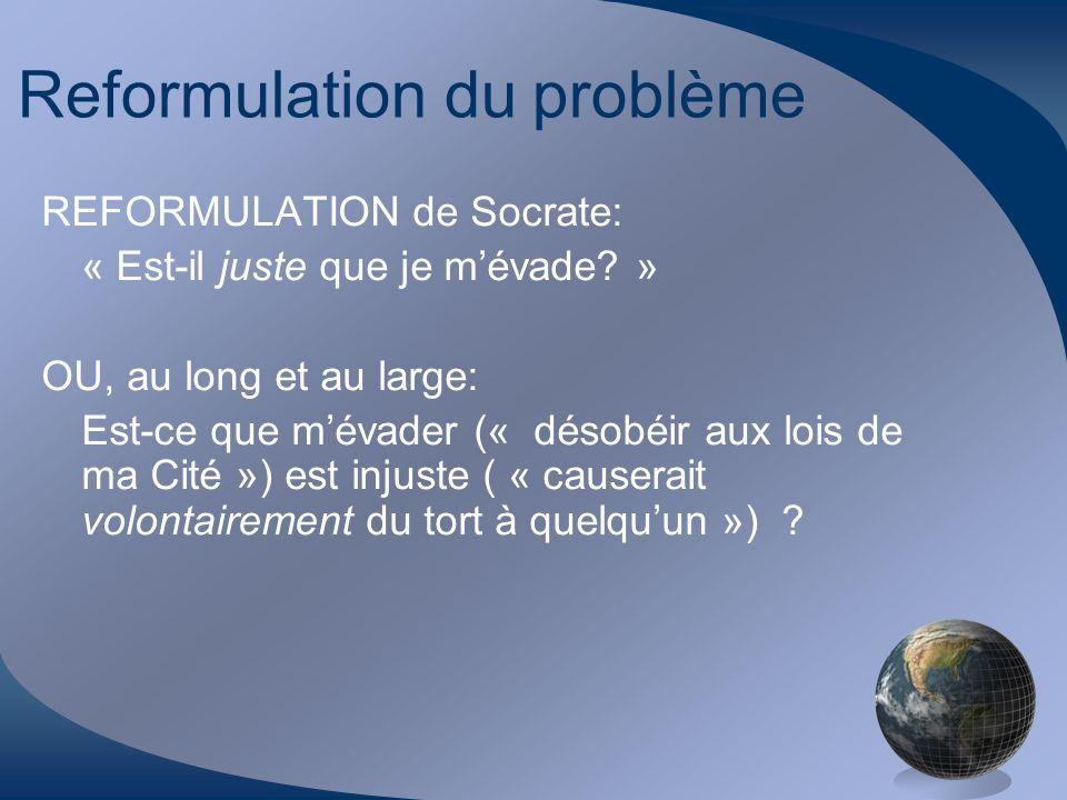 Reformulation du problème