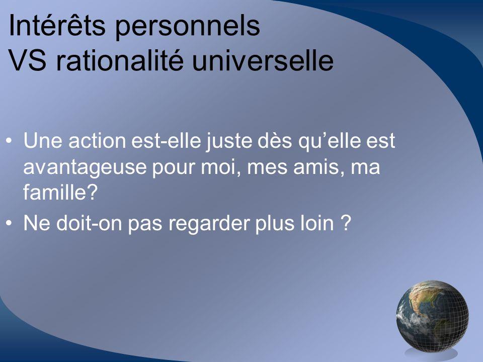 Intérêts personnels VS rationalité universelle