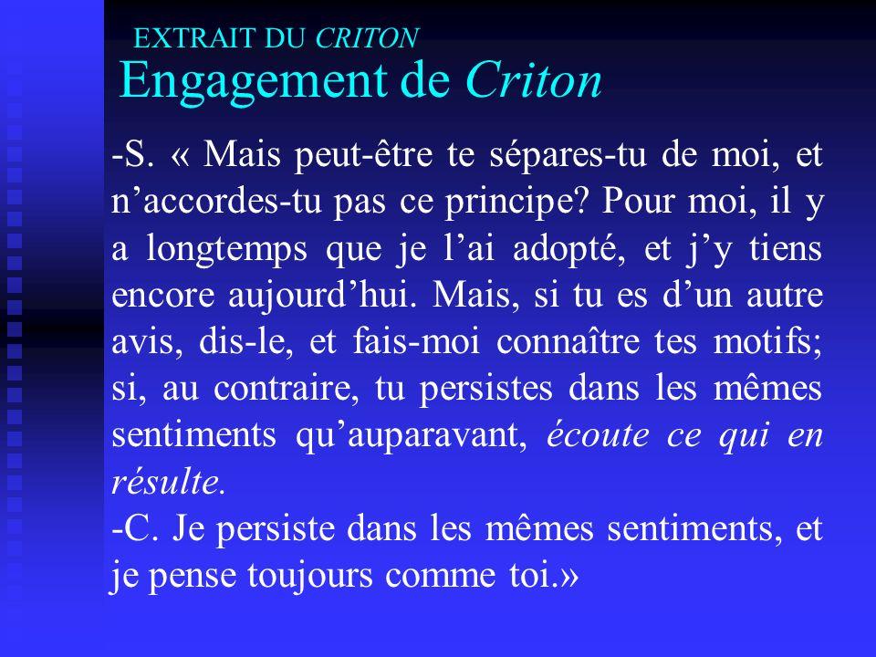 EXTRAIT DU CRITON Engagement de Criton.