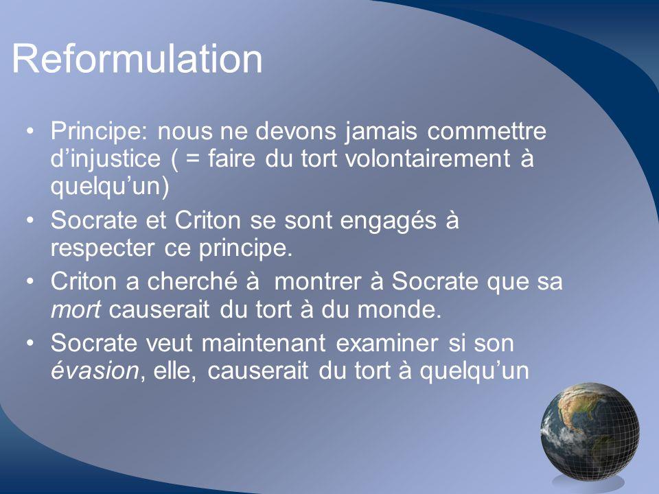 Reformulation Principe: nous ne devons jamais commettre d'injustice ( = faire du tort volontairement à quelqu'un)