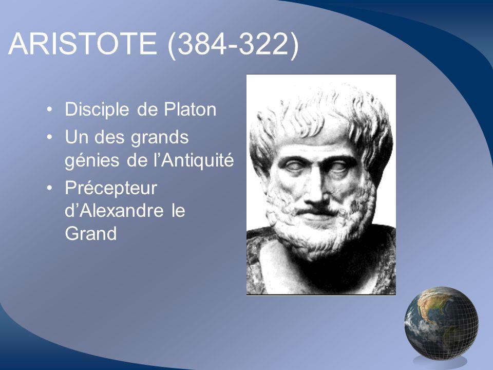 ARISTOTE (384-322) Disciple de Platon