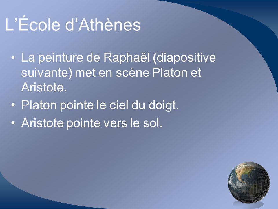L'École d'Athènes La peinture de Raphaël (diapositive suivante) met en scène Platon et Aristote. Platon pointe le ciel du doigt.