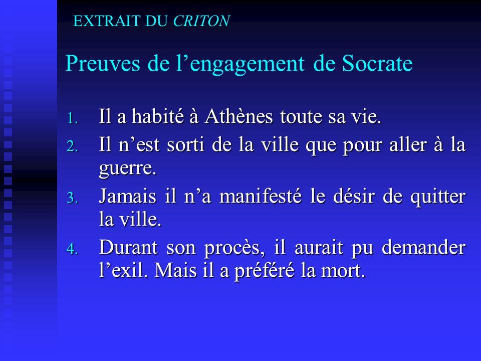 Preuves de l'engagement de Socrate