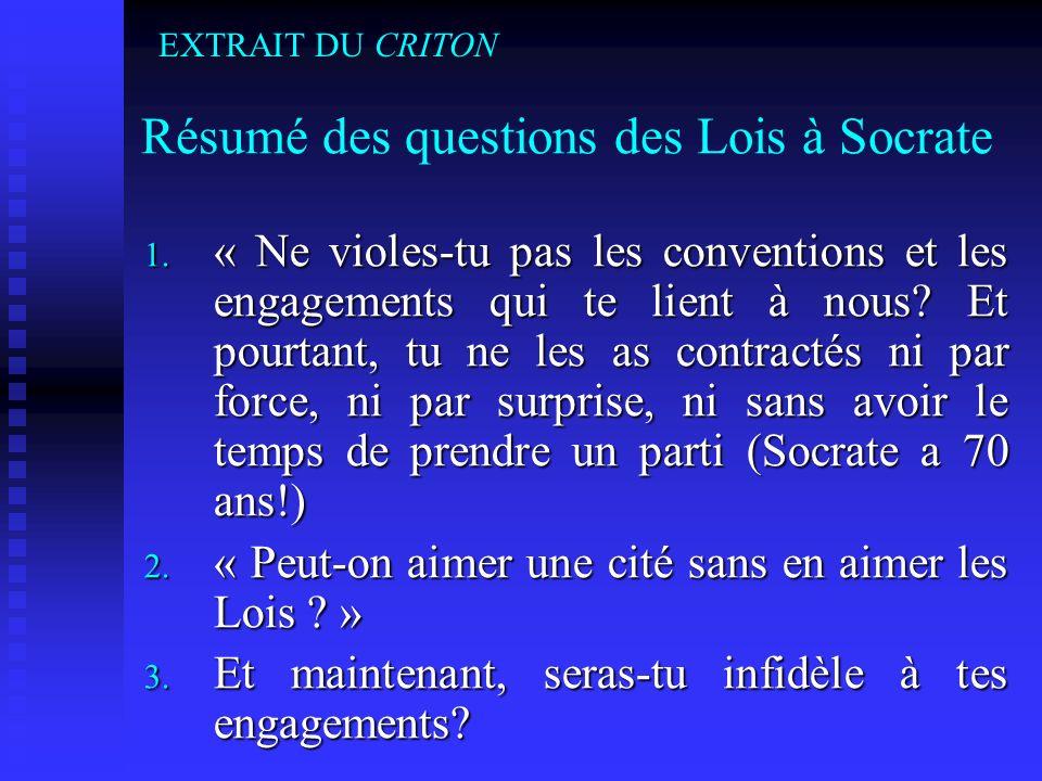 Résumé des questions des Lois à Socrate