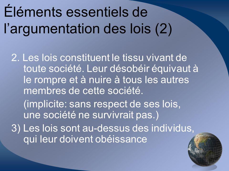 Éléments essentiels de l'argumentation des lois (2)
