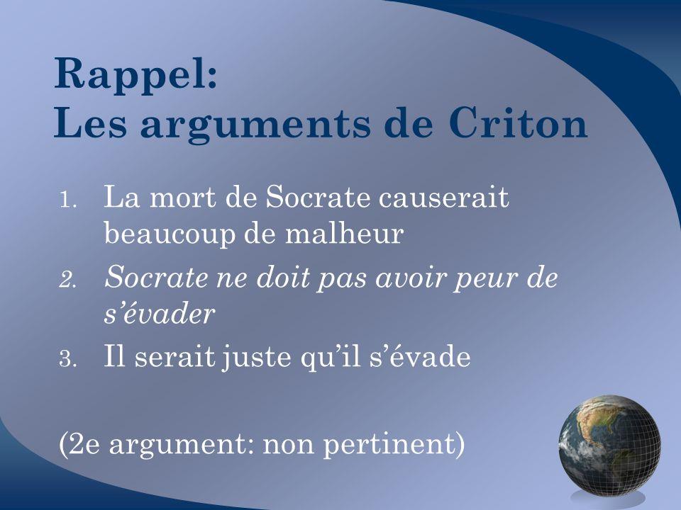 Rappel: Les arguments de Criton