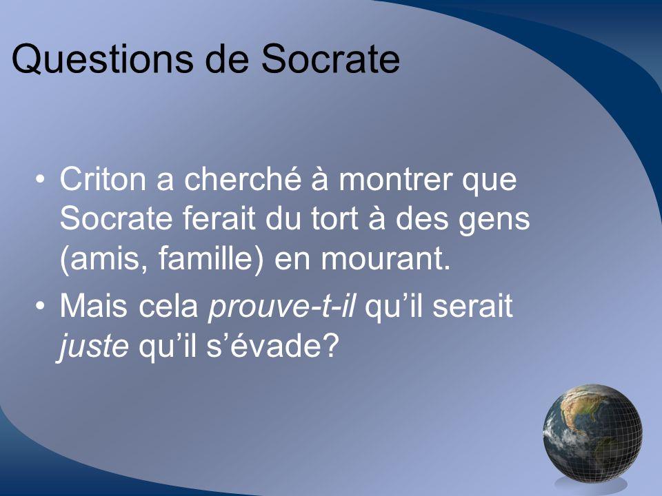 Questions de Socrate Criton a cherché à montrer que Socrate ferait du tort à des gens (amis, famille) en mourant.