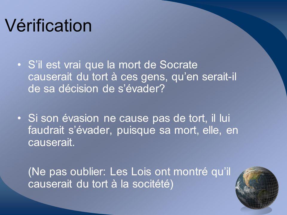 Vérification S'il est vrai que la mort de Socrate causerait du tort à ces gens, qu'en serait-il de sa décision de s'évader