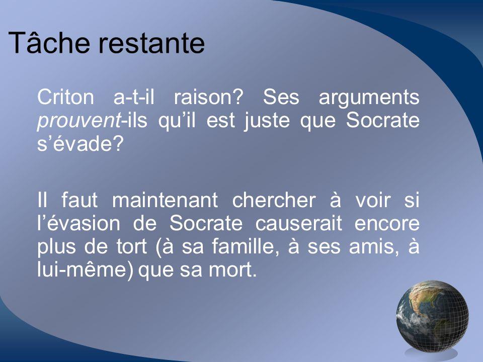 Tâche restante Criton a-t-il raison Ses arguments prouvent-ils qu'il est juste que Socrate s'évade