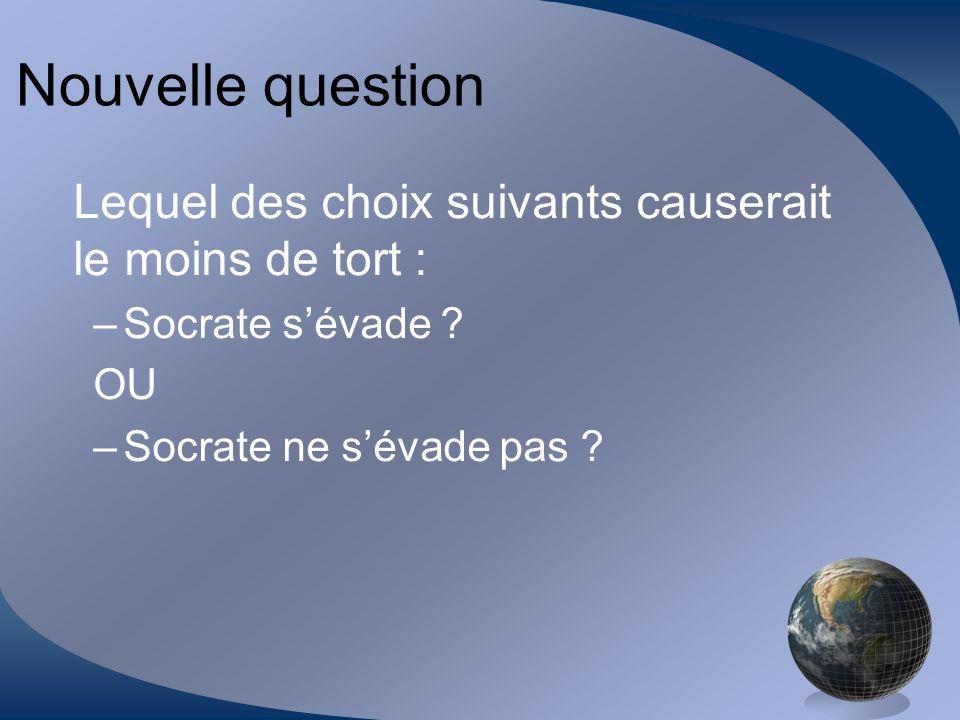 Nouvelle question Lequel des choix suivants causerait le moins de tort : Socrate s'évade .