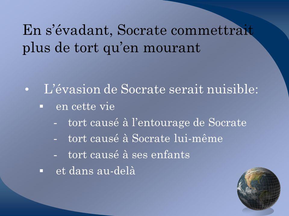 En s'évadant, Socrate commettrait plus de tort qu'en mourant