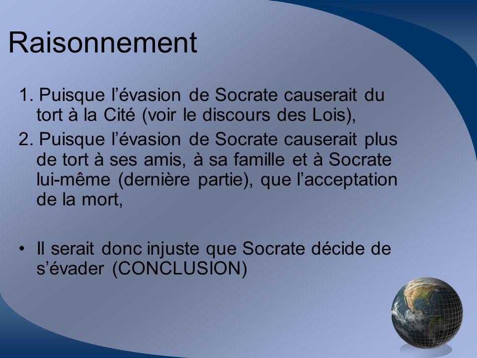 Raisonnement 1. Puisque l'évasion de Socrate causerait du tort à la Cité (voir le discours des Lois),