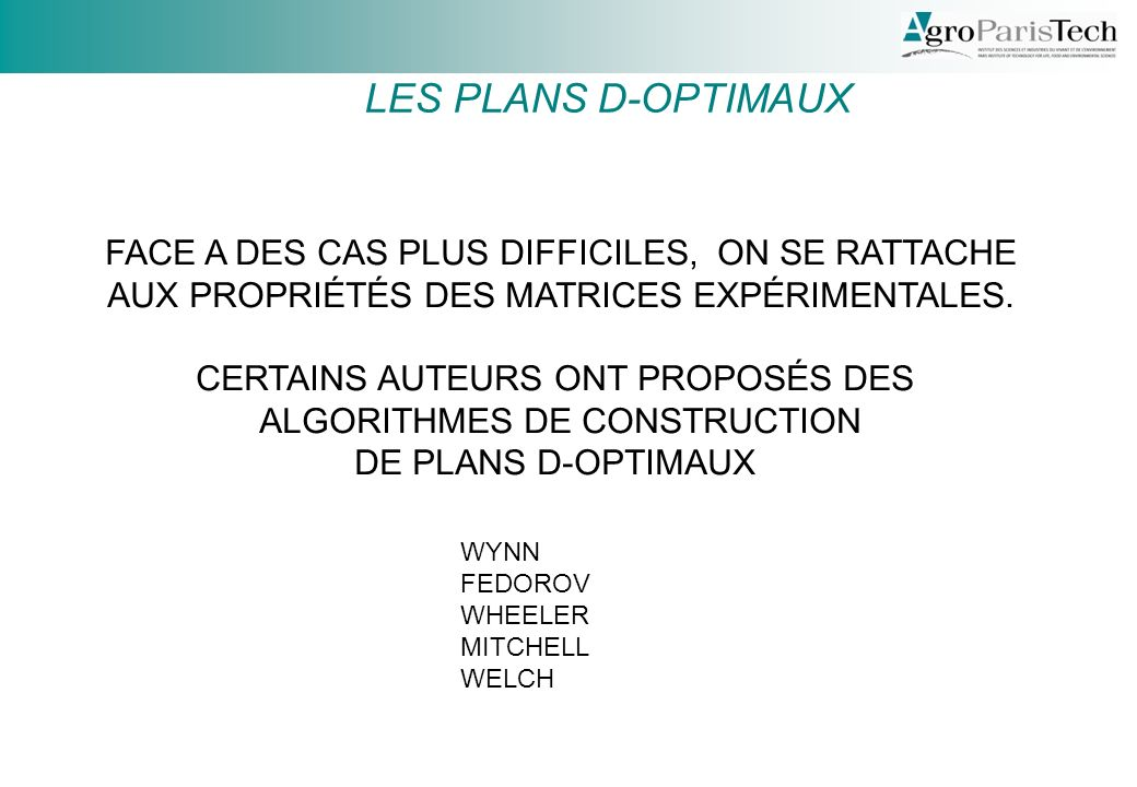 LES PLANS D-OPTIMAUX FACE A DES CAS PLUS DIFFICILES, ON SE RATTACHE