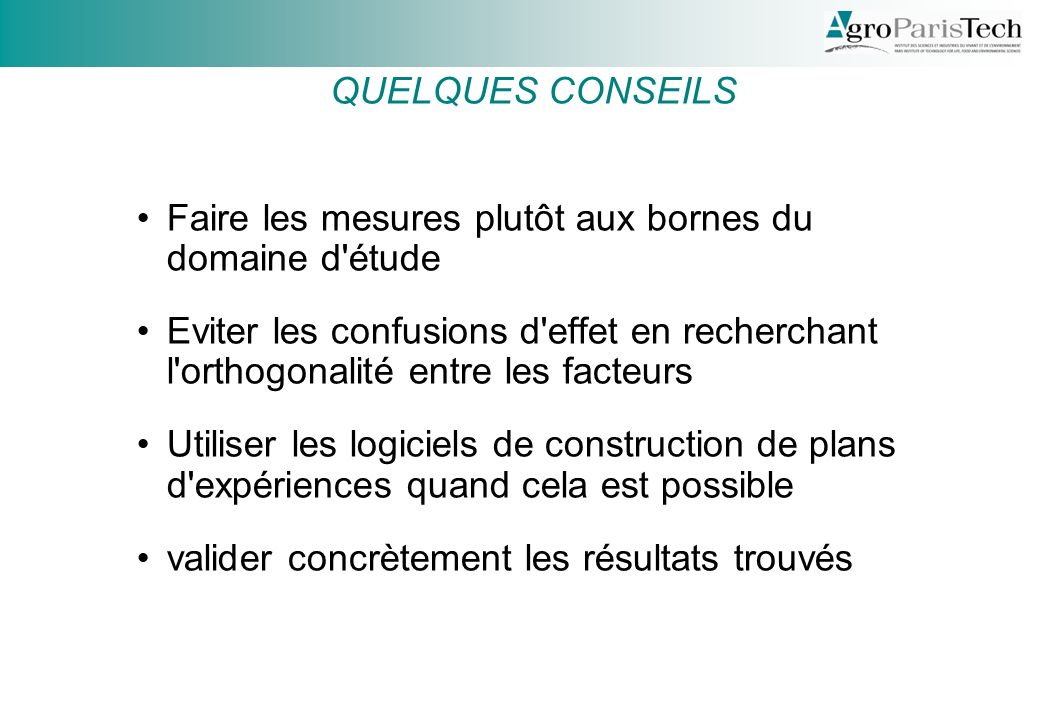 Conseils QUELQUES CONSEILS