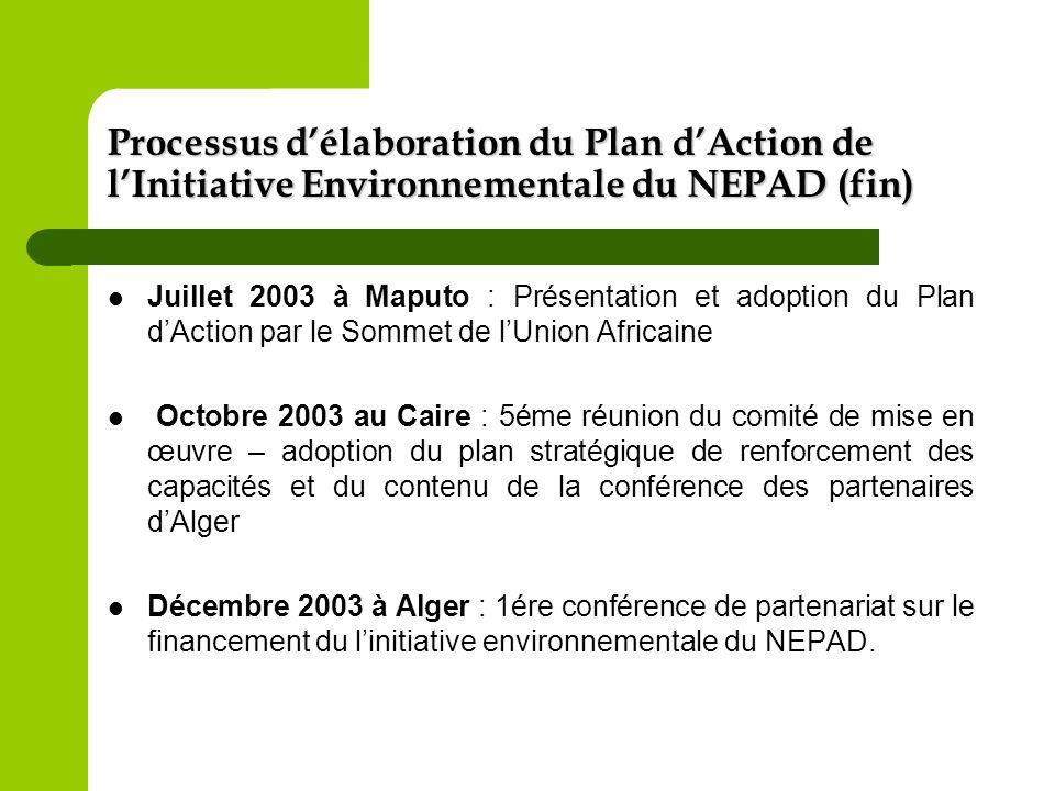 Processus d'élaboration du Plan d'Action de l'Initiative Environnementale du NEPAD (fin)
