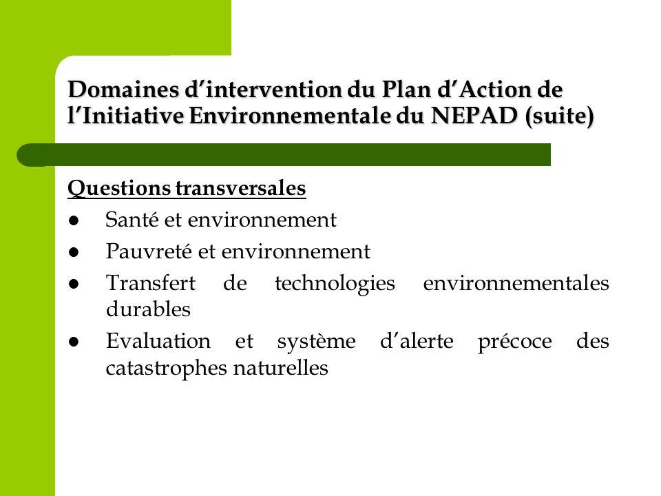 Domaines d'intervention du Plan d'Action de l'Initiative Environnementale du NEPAD (suite)