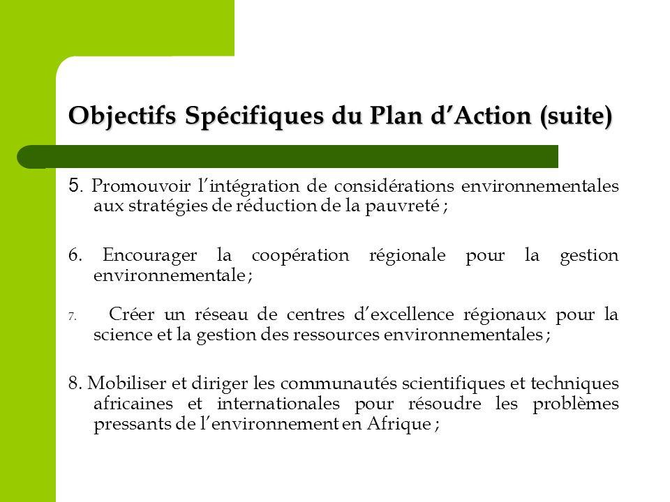 Objectifs Spécifiques du Plan d'Action (suite)