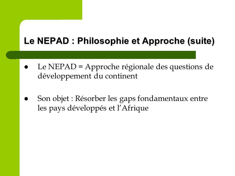 Le NEPAD : Philosophie et Approche (suite)