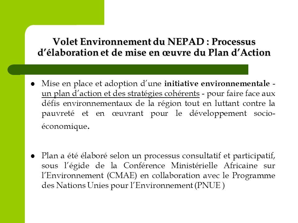 Volet Environnement du NEPAD : Processus d'élaboration et de mise en œuvre du Plan d'Action