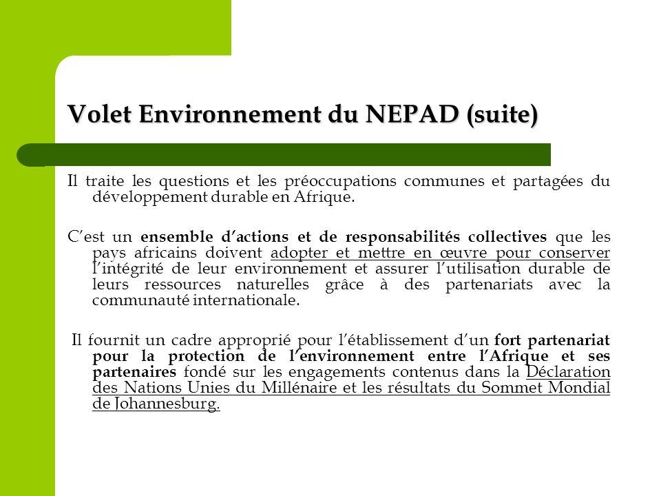 Volet Environnement du NEPAD (suite)