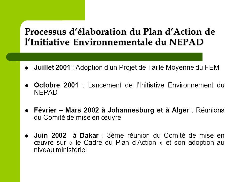 Processus d'élaboration du Plan d'Action de l'Initiative Environnementale du NEPAD