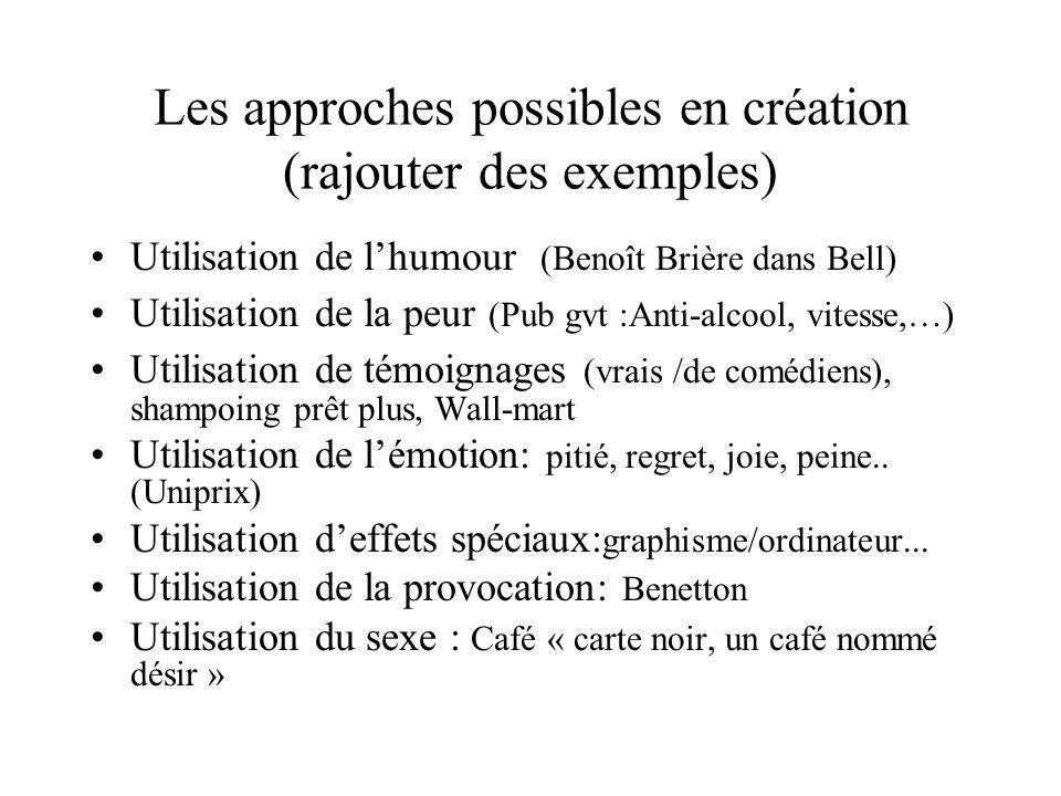 Les approches possibles en création (rajouter des exemples)
