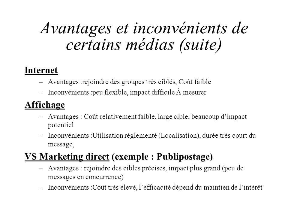 Avantages et inconvénients de certains médias (suite)