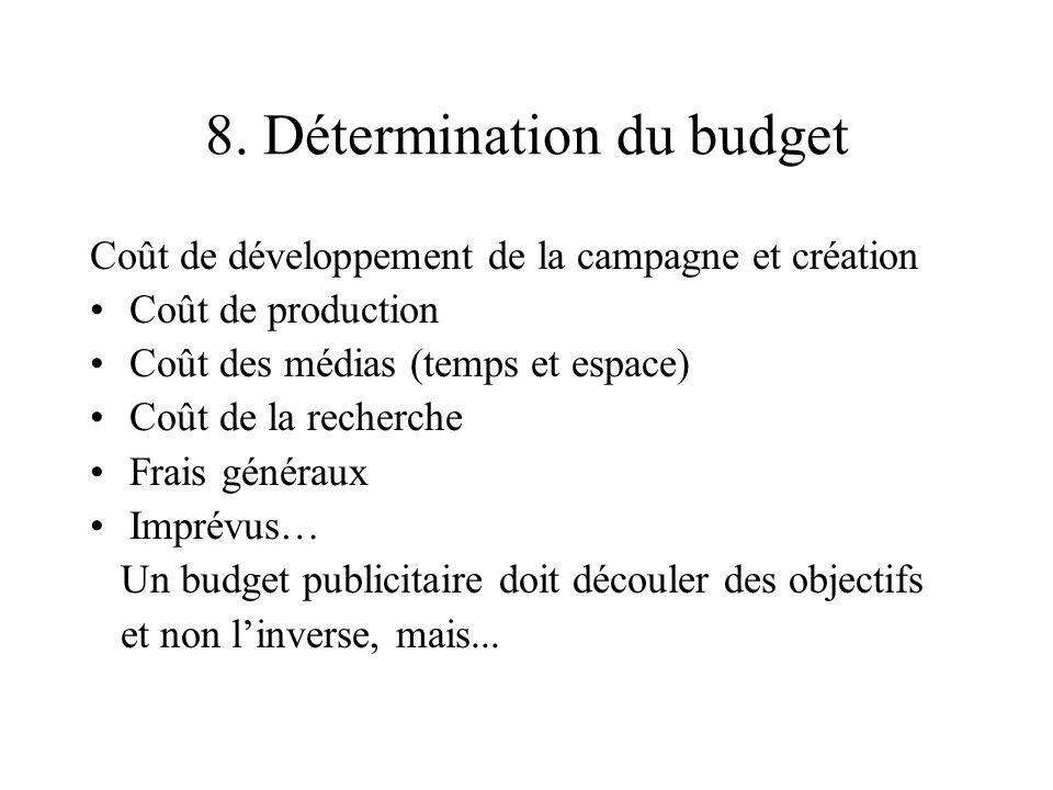 8. Détermination du budget