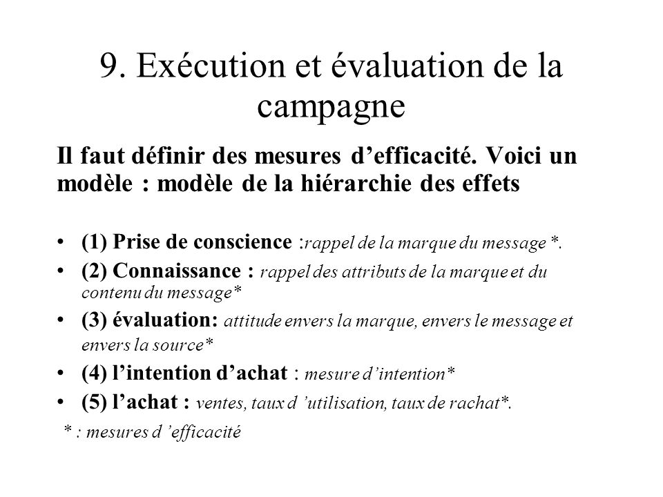 9. Exécution et évaluation de la campagne
