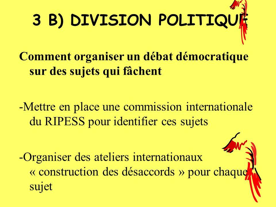 3 B) DIVISION POLITIQUE Comment organiser un débat démocratique sur des sujets qui fâchent.