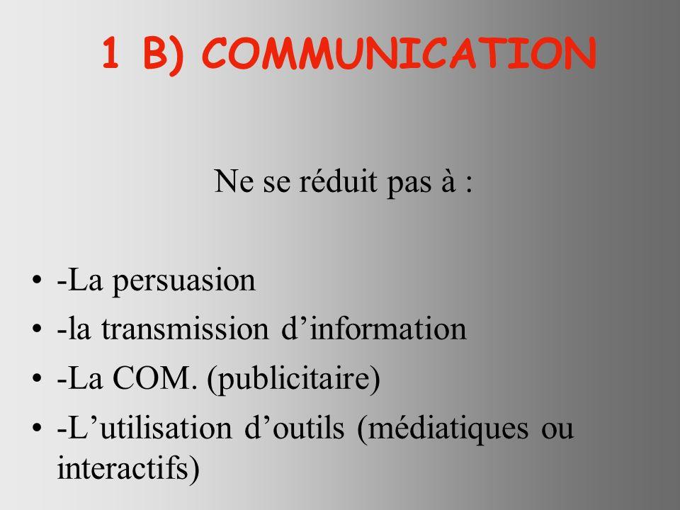 1 B) COMMUNICATION Ne se réduit pas à : -La persuasion