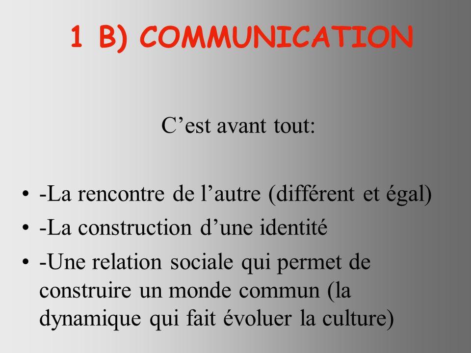 1 B) COMMUNICATION C'est avant tout: